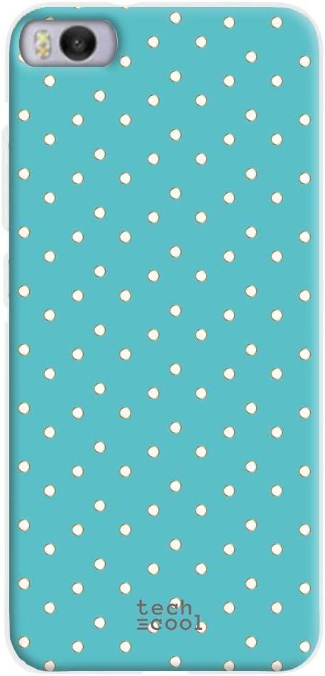 Funnytech® Funda Silicona para Xiaomi Mi5S [Gel Silicona Flexible, Diseño Exclusivo] Fondo Azul Cielo Lunares