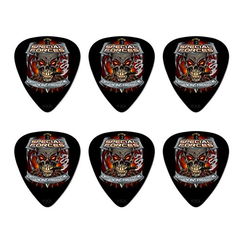 Defending Set - Special Forces Defending Freedom Skull Bullets Novelty Guitar Picks Medium Gauge - Set of 6