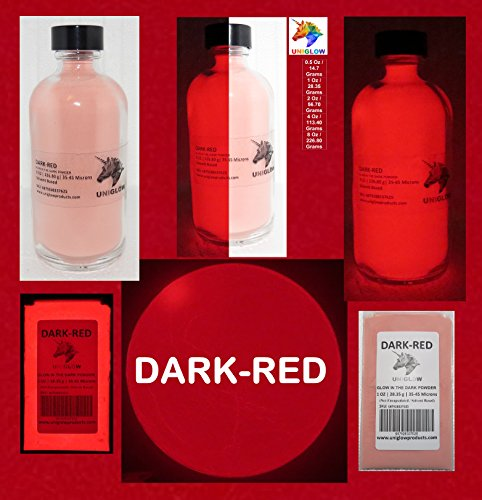 PREMIUM Dark-Red Glow in the Dark Pigment Powder (0.5 Oz / 14.18 Grams, Dark-Red) LONGEST LASTING GLOW POWDER. RECOMMENDED FOR ALL COLORLESS MEDIUM. INK. PAINT. PLASTIC RESIN. GLASS.etc