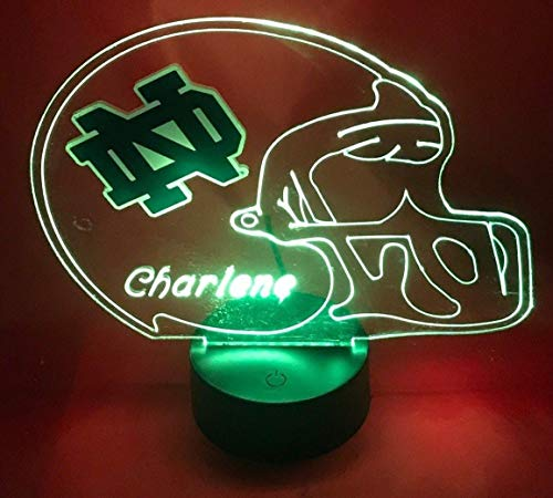 Fighting Irish College Football Helmet Light Up Lamp University of Notre Dame Lamp LED Personalized, Our Newest Feature - It's Wow, with Remote 16 Color Options, Dimmer, Free Engraving, Great Gift ()
