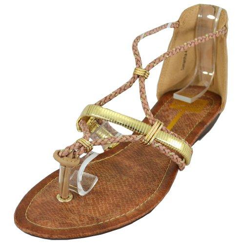 Cape Robbin Women's Samantha-4 Flat Sandals, Beige