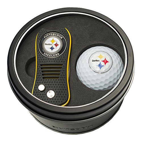 Team Golf NFL Pittsburgh Steelers Gift Set Switchfix Divot Tool with Double-Sided Magnetic Ball Marker & Golf Ball, Patented Single Prong Design, Less Damage to Greens, Switchblade Mechanism ()