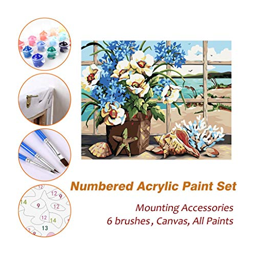 Wall Art Oil Painting Sets, Flower Basket Framed Acrylic Paint by Numbers Kits for Kids Adults Beginner Artist Photography Brush Supplies DIY Picture 707 (500 Mm Basket)