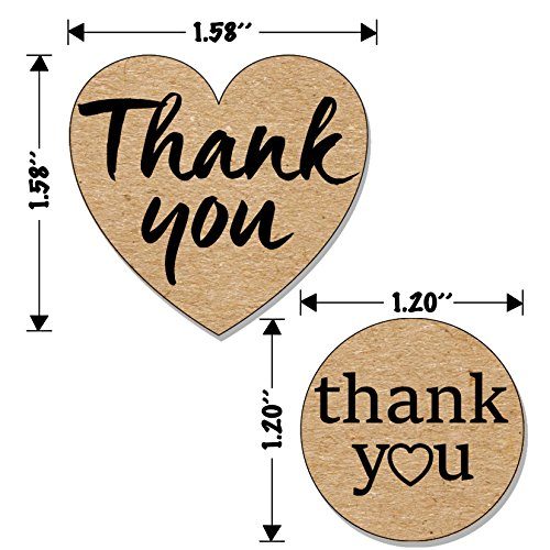 Kraft Paper Thank You Stickers Complete Bundle: 1000 pcs 1.58'' Big Heart Shape & 1.2'' Round Adhesive Labels | 2x500 per Roll Photo #3