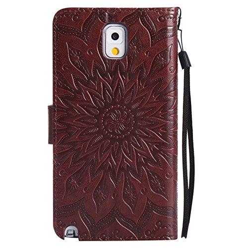 Carcasas y fundas Móviles, Para Samsung Galaxy Note 3 Case, Sun Flower Diseño de la impresión PU Leather Flip Wallet Lanyard funda protectora con ranura para tarjeta / soporte para Samsung Galaxy Note Brown
