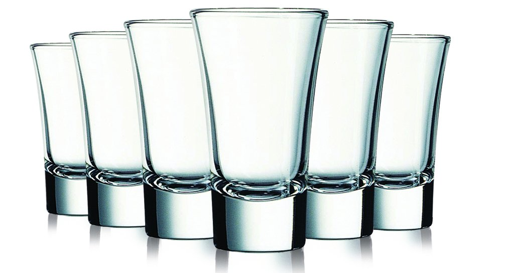 Clear Colored Evase Cordial Glasses - 2 oz. set of 6- Additional Vibrant Colors Available