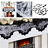 Halloween Decor Kit - Fireplace Mantle Scarf Cover 20x80 inch Black Lace Cobweb, 3D Bat Cutouts, Spiders, Fake Spiderweb - Happy Halloween Decoration for Door, Windows | Gift for All Hallows Eve Theme Party Supplies