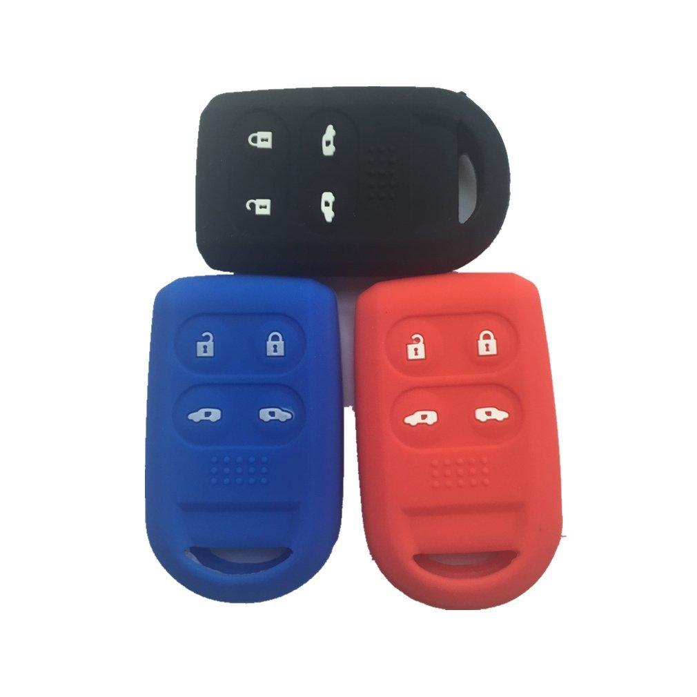 リモコンカバー スマートキーケース チェーンバッグ交換用 2005-2011 Honda オデッセイ対応 GJ20087-Black red Blue B01GEXGH6C  Black Blue Red