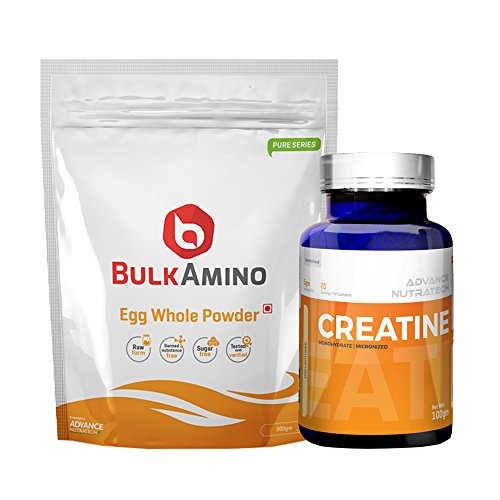Advance Nutratech BulkAmino Egg Whole Powder 300gram(1.1lbs) Unflavoured&Creatine Monohydrate unflavored 100g