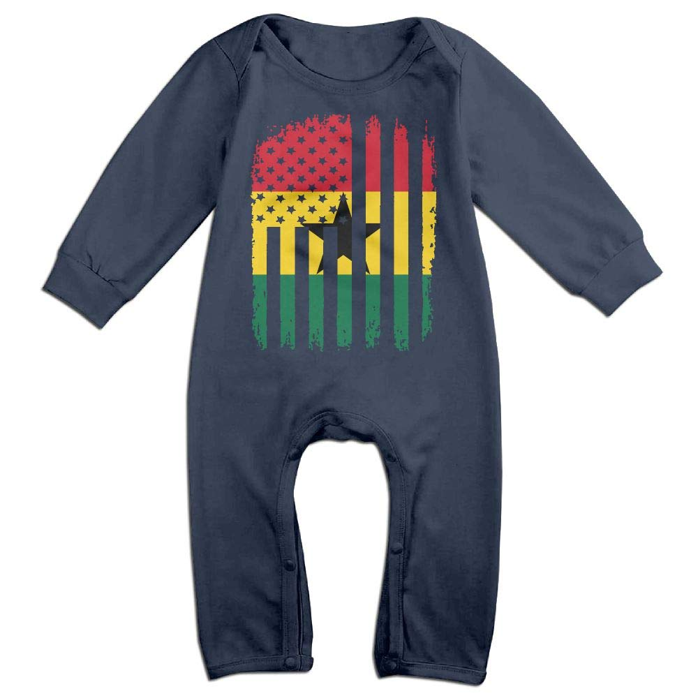 Mri-le1 Baby Girls Long Sleeved Coveralls Ghana American Flag Toddler Jumpsuit