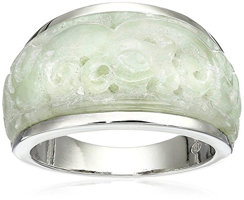 - Sterling Silver Carved Genuine Green Jade Ring, Size 7