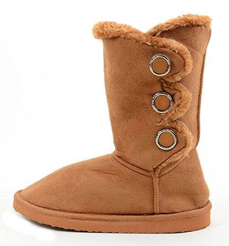 Women's Black Brown Camel Tan Warm Furry Vegan Boots Slipper Button Flat Suede or OxqEw81F