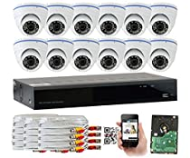 GW Security 16 Channel High Resolution CCTV 1300TVL 1.3MP 720p Weatherproof HDMI Security DVR System (12 Camera System)