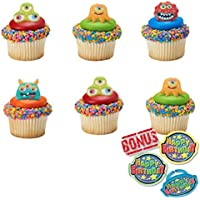 Adorably Cute Monster Cupcake Toppers and Bonus Birthday Ring - 25 Piece