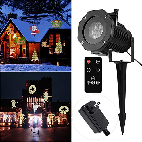 YUNLIGHTS Halloween Projector Lights 15 Pattern LED Projector Light Halloween Decorations with Wireless Remote, Timer, Waterproof Holiday Projector for Outdoor Garden Decoration