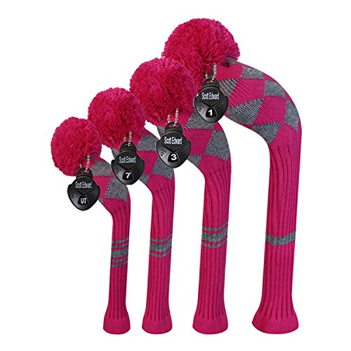 Argyle Roses (Scott Edward Rose Grey Argyles Golf Club Head Covers, Acrylic Yarn Double-Layers Knitted, Set of 4)