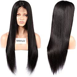 Virgin Brazilian Full Lace Human Hair Wigs For Black Women Pre-Plucked Straight Wigs With Baby Hair 130% Density Natural Color (22inch)