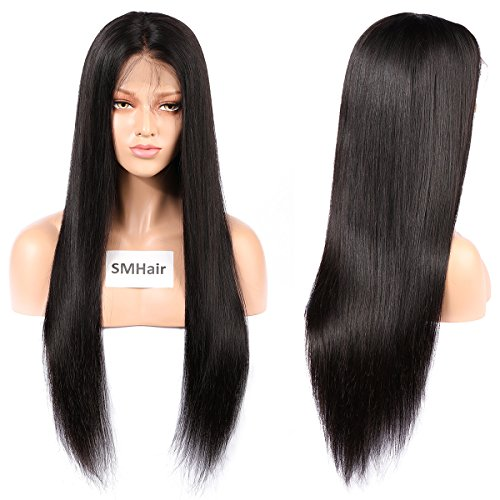 SMHair Silky Straight Natural color Human Hair Wigs 8-24inch (18'', Lace...