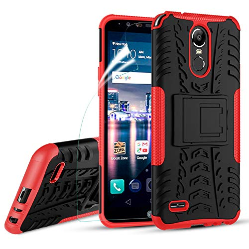OEAGO LG Stylo 3 Case, LG Stylo 3 Plus Case, [Shockproof] [Impact Protection] Tough Rugged Dual Layer Protective Case with Kickstand for LG Stylo 3 / LG Stylo 3 Plus/LG Stylus 3 - Red