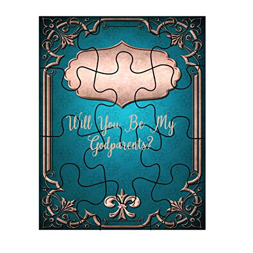 (Jigsaw Puzzle Will You Be My Godparents? Plaque Border On Vintage Blue Background)