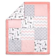Uptown Girl Giraffe and Geometric Patchwork Baby Crib Quilt by The Peanut Shell