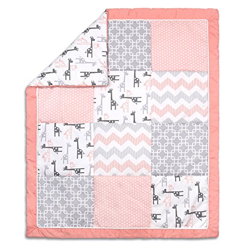 Uptown Girl Giraffe and Geometric Patchwork Baby Crib Quilt by The Peanut - Baby Uptown Bedding