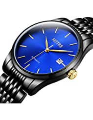 TSS Mens Automatic Ultrathin Watch with Black Stainless Steel Band T8032H3