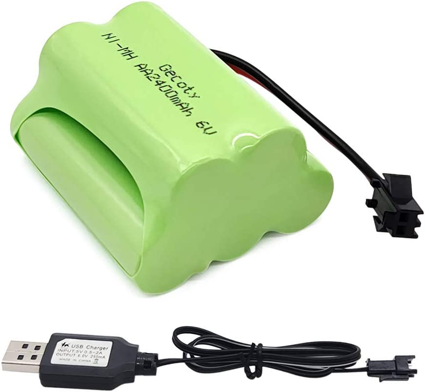 Gecoty® Batería AA recargable Ni-MH 6V 2400 mAh con cable de carga USB, enchufe SM 2P, Para el coche de control remoto de acrobacias, luces solares, herramientas eléctricas, electrodomésticos