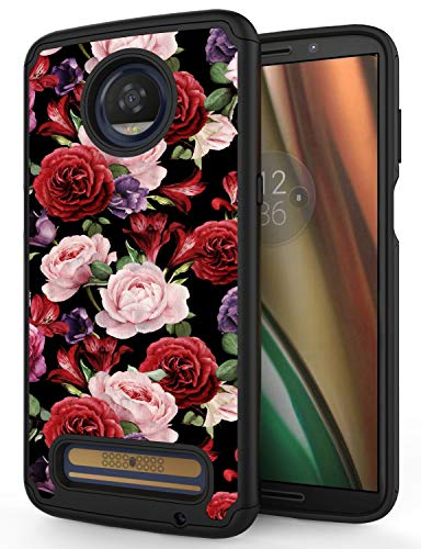 Moto Z3 Play Case, Moto Z3 Case, ANLI [Fashion Floral Design] Drop Protection Hybrid Dual Layer Armor Protective Case Cover Compatible with Motorola Moto Z3 Play 2018 for Girls and Women Rose