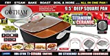 """Gotham Steel Titanium Ceramic 9.5"""" Non-Stick Copper Deep Square Frying & Cooking Pan With Lid, Frying Basket, Steamer Tray, 4 Piece Set - Black"""
