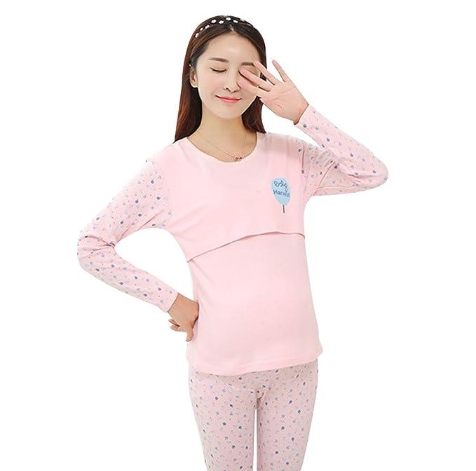 YAANCUN Pijama Conjunto Enfermería Pantalones y de Maternidad Lactancia de Sleep Camiseta Mujer Moda Pijamas Premamá