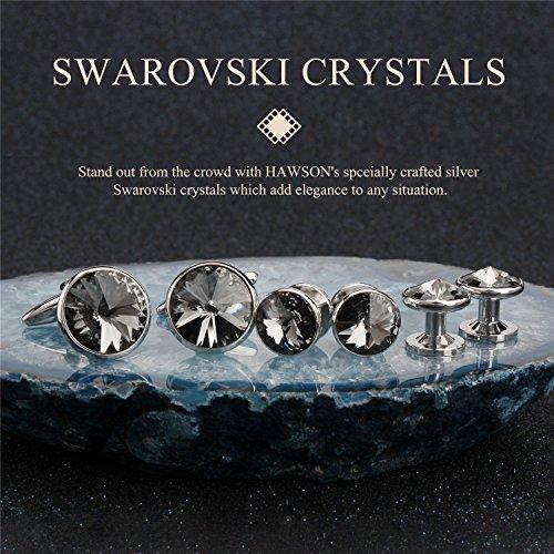 HAWSON Cufflink and Studs Tuxedo Set Silver Color with Swarovski Crystals in Grey by HAWSON (Image #1)'