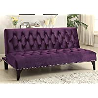 Sofa Beds and Futons 500235 74 Sofa Bed with Chrome Nailhead Trim Sinuous Spring Base Kiln Dried Hardwood Frame and Velvet Upholstery in Purple Color