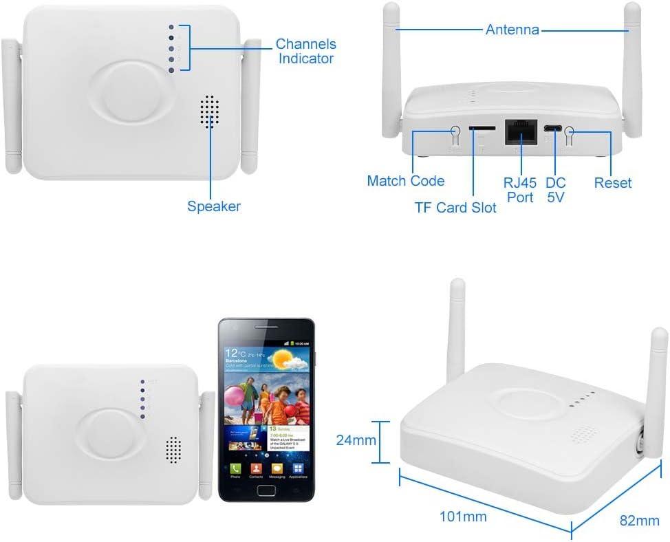 Soporta P2P Impermeable OWSOO Kit C/ámaras de Vigilancia WiFi Activador de Alarma para Seguridad de Hogar 4/×720P C/ámaras Inal/ámbricas 1/×4CH 1080P NVR Detecci/ón de Movimiento Vision Nocturna