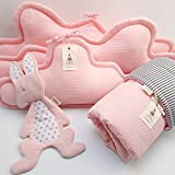 5 Piece Bedding Set - 3 clouds pillows bumper + blanket + baby lovey for Baby Crib, baby cot, baby bed- Pink
