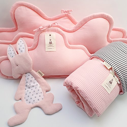 5 Piece Bedding Set - 3 clouds pillows bumper + blanket + baby lovey for Baby Crib, baby cot, baby bed- Pink by Pockets Baby & kids