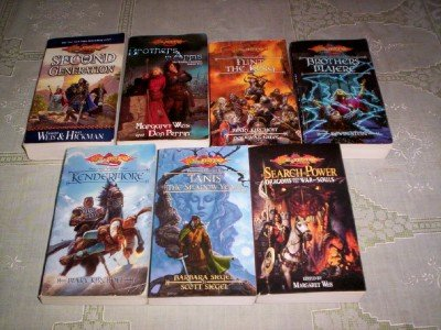 Dragonlance - (Set of 7) - Not a Boxed Set (Brothers Majere - Kendermore - Tanis The Shadow Years - Dragons From The War of Souls - Flint the King - The Second Generation - Brothers in Arms)