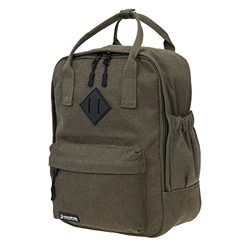 """- HOOPOE Little-Xen Backpack, Army Green Water-Resistant Small Backpack with Adjustable Shoulder Straps, Padded School Bag with 11"""" Laptop Compartment & Multiple Pockets"""