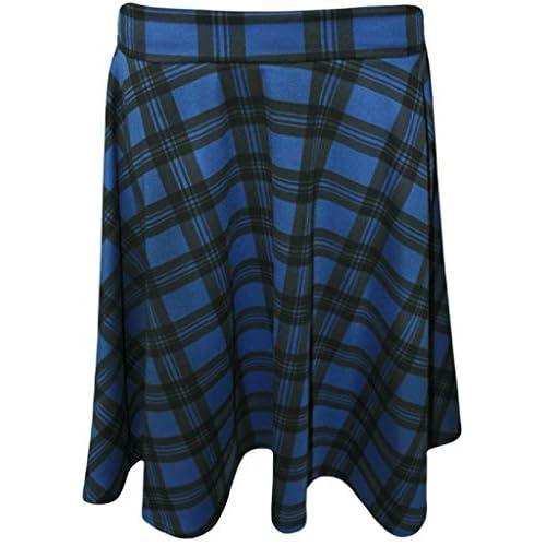 6de1e8a5aa4 RM Fashions Womens Plus Size Tartan Check Print Elastic Ladies Short Skater  Skirt (Size US