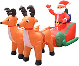 Giant Inflatable Santa Claus Double Deer Lighted Funny Christmas Decoration (01)