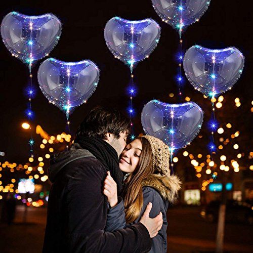 1pcs 5pcs 10pcs Led Bobo Balloon Lights Reusable Lamps Decorations for Festival Birthday Party Luminous 18 inch String Lights (Heart-5PCS) ()