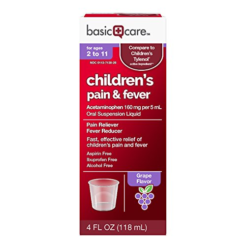 Pain Relief Suspension - Basic Care Acetaminophen Children's Pain Reliever Oral Suspension Liquid, 4 Ounce