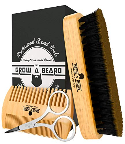 Beard Comb & Brush Set for Men's Care | Giveaway Mustache Scissors...