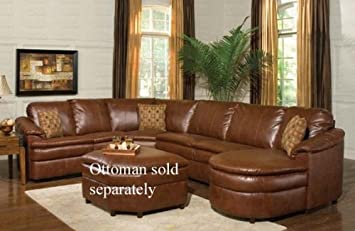 Amazon.com: Sectional Recliner Sofa with Chaise in Brown ...