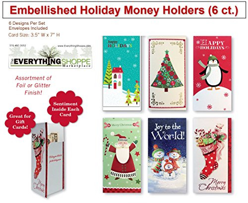 Assorted Embellished Gift Card, and Money Holder Cards for Christmas, Assorted with Penguins, Trees, Santa, Snowman, Stockings (6 Cards)
