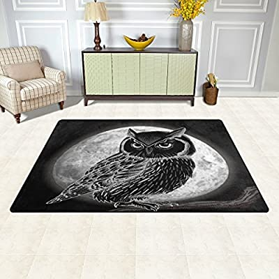 WOZO Black Moon Night Owl Area Rug Rugs Non-Slip Floor Mat Doormats Living Dining Room Bedroom Dorm 60 x 39 inches inches Home Decor: Home & Kitchen