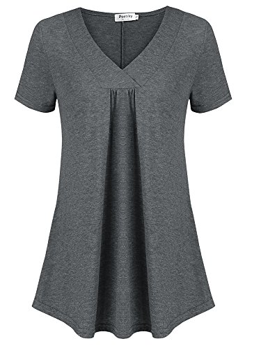 Poetsky Women Wear to Work Short Sleeve Tops Cross V Neck Front Pleated Tunic Dark Gray, L by Poetsky