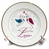 3D Rose Two Birds with the Word Love Porcelain Plate, 8''