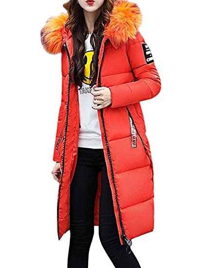 OranDesigne Donna Invernali Giacca Lungo Caldo Cappotto con Cappuccio Collo  di Pelliccia Casual Eleganti Piumino Parka Trench Coat Outwear  Amazon.it   ... df04959c7bd