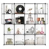 LANGRIA 16-Cube Modular Shelving Storage DIY Organizing Closet Organization System with Translucent Doors